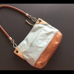 THE SAK Purse Light Mint Green and Caramel Leather